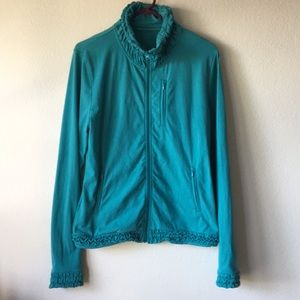 prAna Breathe ruffle teal jacket